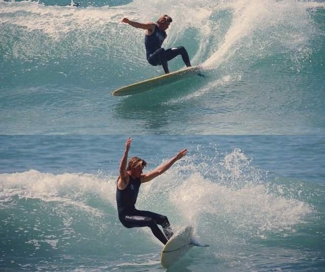 Corey Colapinto stylish surfing on a mid length board
