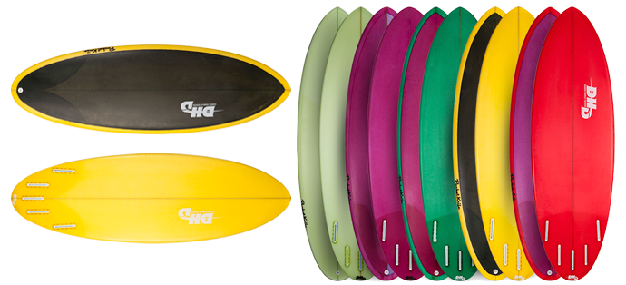 dhd pocket knife surfboards in various colors