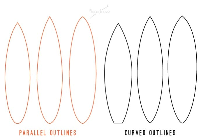 Boardcave comparing parallel vs curved surfboard outlines