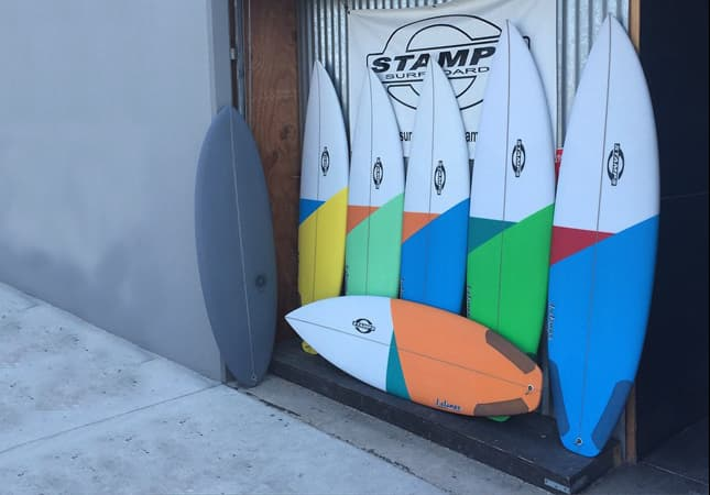stamps surfboards grinder x and grey stamps stubby